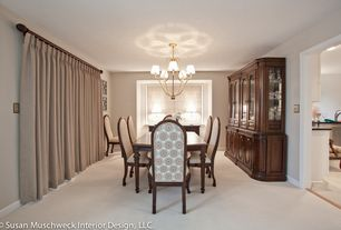 Traditional Dining Room with Standard height, Carpet, Chandelier