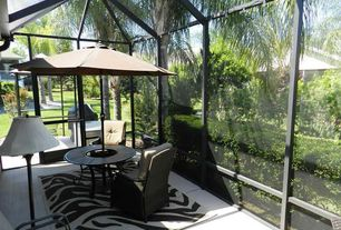 Tropical Porch with Outdoor kitchen, Skylight, French doors, Screened porch, exterior tile floors