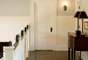 Cottage Hallway with Wainscoting, Wall sconce, House of fara 8 sq ft. mdf overlapping wainscot interior paneling kit