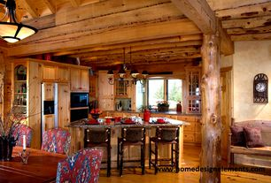 Rustic Kitchen with flush light, L-shaped, Paint 1, Standard height, Breakfast nook, Built In Panel Ready Refrigerator