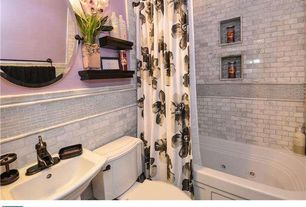 Traditional Full Bathroom with Premier faucet sanibel single handle bathroom faucet, Wall mounted sink, High ceiling