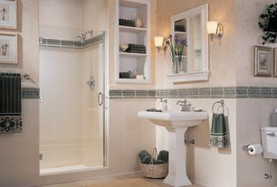 Traditional 3/4 Bathroom with Wall Tiles, three quarter bath, Pedestal sink, linen and towel storage cabinet, Standard height