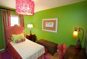 Eclectic Kids Bedroom with Hardwood floors, flush light