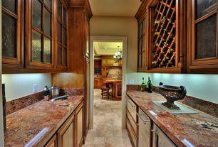 Traditional Pantry with Built-in bookshelf, sandstone tile floors