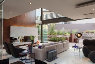 Contemporary Living Room with French doors, insert fireplace, can lights, High ceiling, Fireplace, Loft, Concrete floors