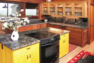 Eclectic Kitchen with Flat panel cabinets, L-shaped, Kitchen island, Flush, Glass panel, Complex marble counters