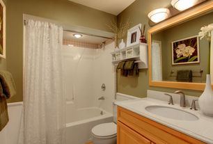 Traditional Full Bathroom with Simple granite counters, Simple Granite, partial backsplash, Raised panel, Standard height