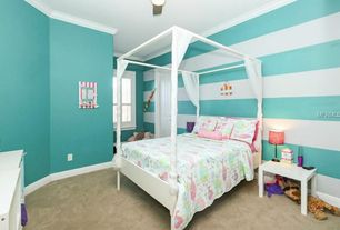 Traditional Kids Bedroom with flush light, Crown molding, High ceiling, Ceiling fan, Carpet, interior wallpaper