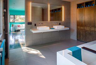 Modern Master Bathroom with Vessel sink, Freestanding, Master bathroom, Standard height, Casement, Double sink, can lights