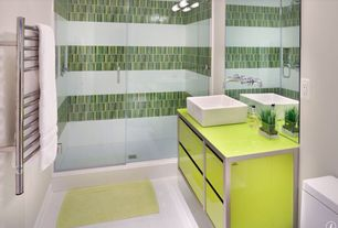 Contemporary 3/4 Bathroom with Flush, Console sink, European Cabinets, Rain shower, frameless showerdoor, Corian counters