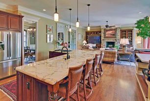 Traditional Kitchen with Multiple Refrigerators, Armstrong gunstock oak, L-shaped, Pendant light, Framed Partial Panel