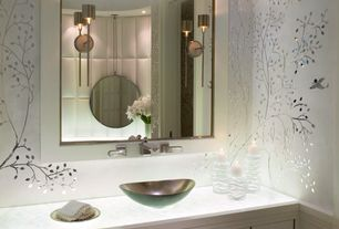 Modern Powder Room with interior wallpaper, Powder room, Fine Art Lamps Grosvenor Square Polished Nickel Sconce, Flush