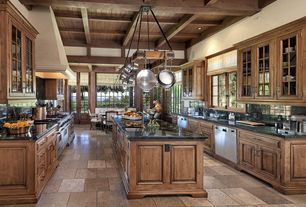 Country Kitchen with Complex granite counters, Arizona Tile, Braziliano, Granite, Raised panel, Breakfast nook, Custom hood