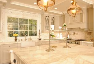 Traditional Kitchen with Whitehaus wh3018 duet series fireclay kitchen sink, Walker Zanger Calacata Borghini Marble