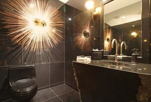 Art Deco Powder Room with Pental Mysore Black Polished Granite, Powder room, Undermount sink, Simple granite counters