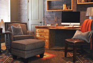 Rustic Home Office with High ceiling, Linen wallpaper, Throw blanket, Area rug, Built-in bookshelf, Side table, Antlers