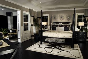 Eclectic Master Bedroom with can lights, Ceiling soffit, Safavieh nora zebra print wooden bench, Armani xavira gothic bed