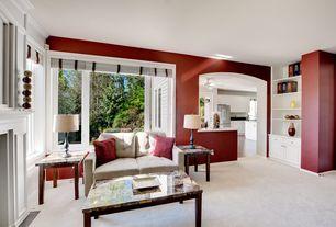 Transitional Living Room with Carpet, Built-in bookshelf