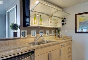 Modern Kitchen with Paint 2, Paint, 2 in. Quartz Countertop in Bamboo, Simple granite counters, can lights, Glass panel
