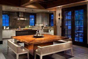 Contemporary Dining Room with French doors, Exposed beam, Wall sconce, Live Edge Design - Custom Dining Table