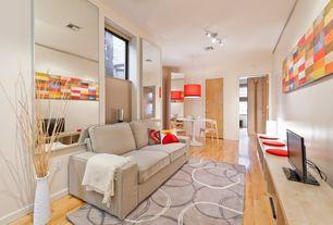 Modern Living Room with KALLAX Shelving unit, birch effect (4 squares), Built-in bookshelf, Pendant light, Hardwood floors