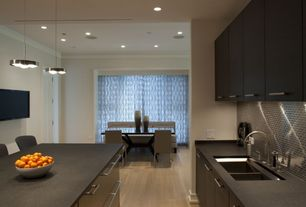 Contemporary Kitchen with full backsplash, Paint, Flush, Stainless steel mosaic tile, Standard height, Breakfast bar