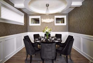 Traditional Dining Room with Box ceiling, interior wallpaper, Chandelier, Wainscotting, picture window, Standard height