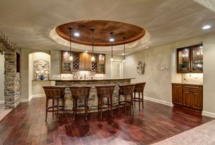 Traditional Bar with Pendant light, Hardwood floors, Built-in bookshelf, Wainscotting