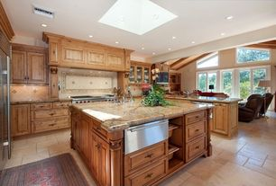 Country Kitchen with mexican tile backsplash, Wall Hood, slate tile floors, can lights, Complex granite counters, gas range