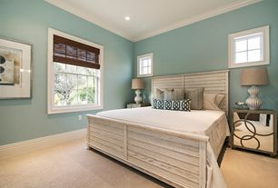 Contemporary Guest Bedroom with Limed oak mod circles nightstand, Carpet, Crown molding, Gloss White Ribbed Gourd Lamp