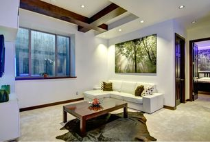 Contemporary Basement with Safavieh COH211D-5 Cow Hide Rug - Tan - 4.5 x 6.5 ft., Exposed beam, Concrete floors