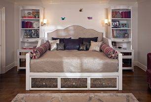 Eclectic Kids Bedroom with Crown molding, Built-in bookshelf, Magnussen Gabrielle Full Daybed in Snow White, Wall sconce