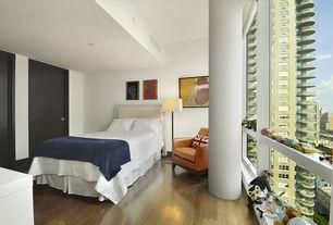 Contemporary Kids Bedroom with Columns, Hardwood floors