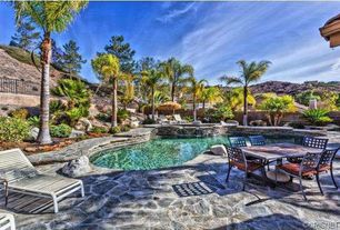 Tropical Swimming Pool with Pathway, Raised beds, Pool with hot tub, exterior stone floors, Fence