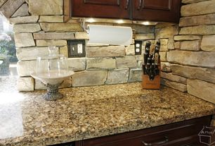 Eclectic Kitchen with Stacked stone wall, Simple granite counters, Ms international amber yellow granite