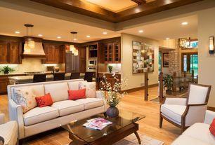 Craftsman Living Room with Hardwood floors, Wall sconce, Standard height