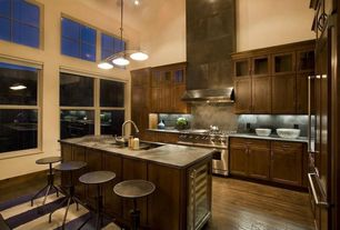 Contemporary Kitchen with Multiple Refrigerators, High ceiling, Multiple Sinks, Wine refrigerator, double oven range, Flush