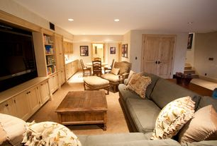 Country Basement with French doors, can lights, Standard height, sandstone floors, Built-in bookshelf