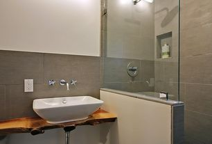 Modern 3/4 Bathroom with Standard height, Shower, Vessel sink, Rain shower, Full Bath, Wood counters, Wall sconce, Wall Tiles