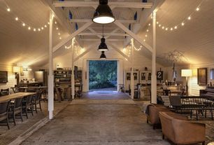Contemporary Great Room with Outdoor cafe string lights, Concrete floors, Hanging lights, Cathedral ceiling, Exposed beam
