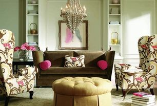 Eclectic Living Room with Crown molding, Chandelier, Carpet, Chair rail, Built-in bookshelf, Standard height, Wainscotting