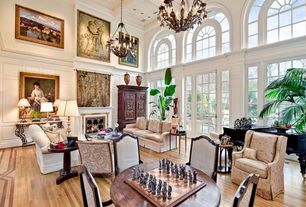 Traditional Living Room with French doors, 18TH C. FRENCH UPHOLSTERED ARMCHAIR, Box ceiling, High ceiling, Chandelier