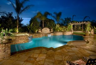 Contemporary Swimming Pool with exterior stone floors, Pool with hot tub, Trellis, Fence, Raised beds