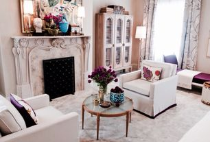 Traditional Living Room with Cement fireplace, Concrete floors