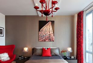 Contemporary Master Bedroom with Hardwood floors, Chandelier, interior wallpaper, Red Wool Egg Chair