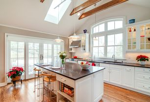 Traditional Kitchen with High ceiling, Flat panel cabinets, Exposed beam, One-wall, Kitchen island, European Cabinets, Flush