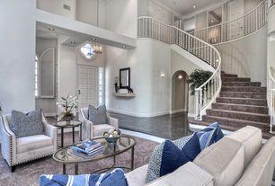 Modern Living Room with six panel door, Carpet, Sunken living room, Loft, Cathedral ceiling, can lights