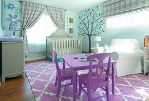 Eclectic Kids Bedroom with Standard height, Mural, Casement, Ceiling fan, no bedroom feature, Hardwood floors