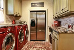 Country Laundry Room with LG 4.3 Cu. Ft. Ultra Large Capacity with Neverust Stainless Steel Drum, Built-in bookshelf