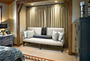Contemporary Master Bedroom with Built-in bookshelf, Standard height, can lights, Exposed beam, Carpet